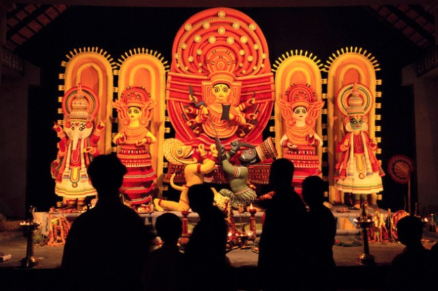 This innovative idol shows the gods and goddesses as Kathakali performers. Image courtesy: Corbis